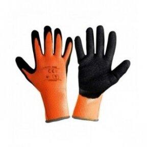 Pirštinės apsauginės žieminės juodai-oranžinės 9 dydis