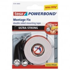 Dvipusė lipnioji juosta Tesa Ultra Strong, 1,5 m x 19 mm, balta