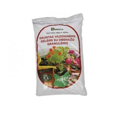 Gruntas su augalų drenažo granulėmis, 5 l