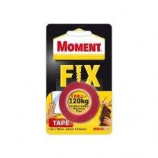 Dvipusė lipnioji juosta Moment Power Fix  1,5 m x 19 mm, raudona