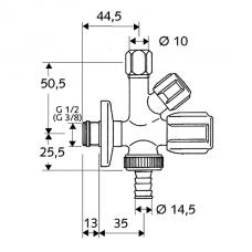 Kampinis kombinuotas ventilis, Schell  1/2 x 3/4  x3/8 išoriniai sriegiai