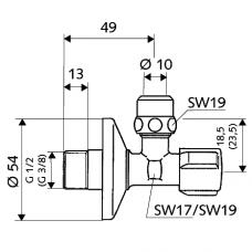 Kampinis ventilis, Schell  1/2 x 10mm (3/8)