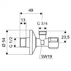 Kampinis ventilis, Schell  1/2 x 3/4  išoriniai sriegiai