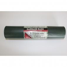 LDPE šiukšlių maišai 150l 75x115cm 5vnt.