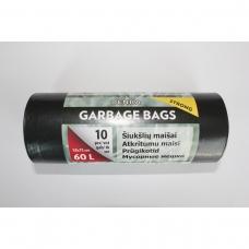 LDPE šiukšlių maišai 60l 58x75 10vnt.
