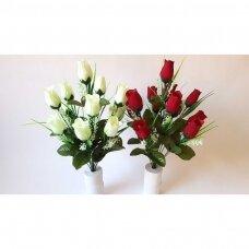 Rožių puokštė 12 žiedų, baltos spalvos