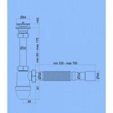 Sifonas ANI 1 1/4'' L=32cm, su lanksčia žarna