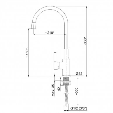 Virtuvinis maišytuvas FLEXY-33 (BK) 2